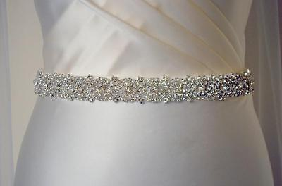 SALLY Silver Jewel Encrusted Rhinestone Crystal Diamante Bridal Sash Dress Belt