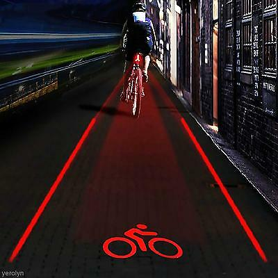 Outdoor 5 LED 2 Laser Bike Bicycle Rear Tail Lamp Bicycle LOGO Projection Light