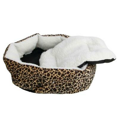 Pet Puppy Dog Cat Fleece Cozy Warm Beds Sleep House Cotton Lepard Print S Size