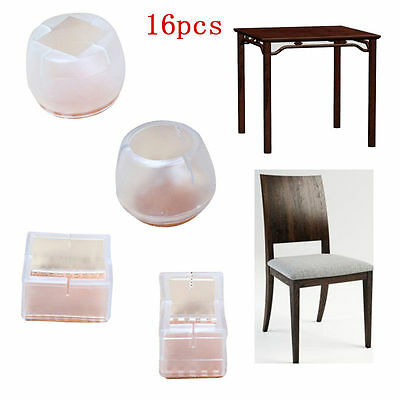 16pcs Silicon Gel Furniture Table Chair End Leg Floor Feet Cap Cover Protector