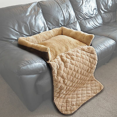 Medium Quilted Brown Fleece Fold Out Pet Bed Cat/Dog Sofa/Couch/Chair Protector