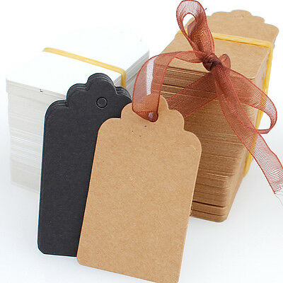 100Pcs Blank Brown Kraft Paper Hang Tags Luggage Wedding Favor Label Gift Cards