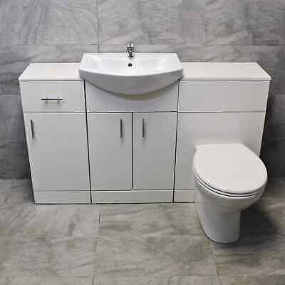 1400mm Bathroom Vanity BTW Toilet Unit Sink Basin Storage Drawer Storage White