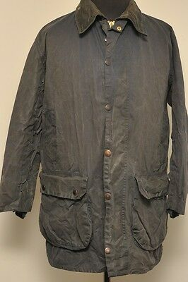 "Barbour Of England A205 Border Wax Cotton Hunting Jacket Blue 40"" / 102Cm Dy44"