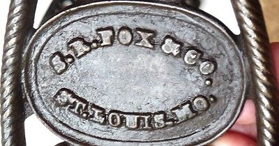 Antique, S.R. Fox Co. Sad Iron , Handled Trivet, St. Louis, Mo. 3 Feet # 1