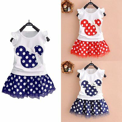 2PCS Toddler Infant Baby Girls Outfits Mouse T-shirt Tops+Tutu Skirt Clothes Set