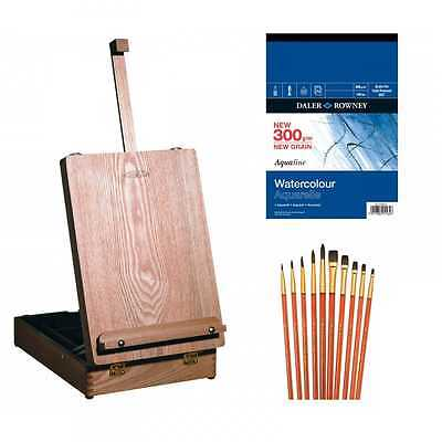 Winsor & Newton Medway Wooden Table Box Easel Watercolour Accessory Set