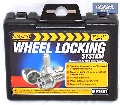 Maypole Locking Wheel Bolts 12mm X 1 X 2 for most Trailors & Caravans