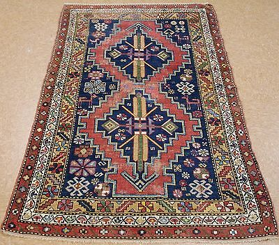 4 x 6 Antique CAUCASIAN Tribal Hand Knotted Wool RUST NAVY Animals Oriental Rug
