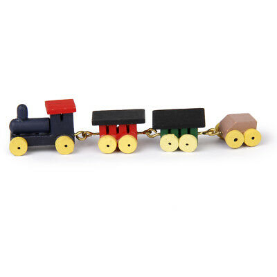 1/12 Dollhouse Miniature Cute Painted Wooden Train Set and Carriages Kid Toy