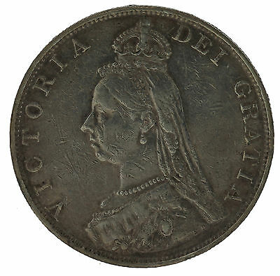 1887 Queen Victoria Great Britian British Double Florin Silver Coin 22.62gr