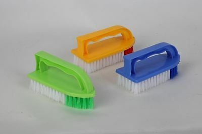 10 x Plastic Iron Shaped Scrubbing Brush Stiff Bristle Scrub Hard Nylon Handle