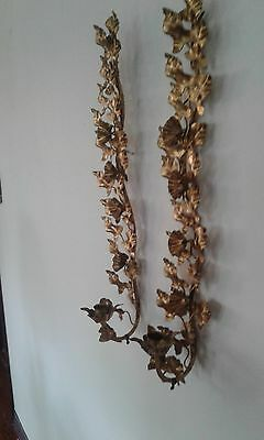 2 CHIC Vintage ITALIAN Antiqued TOLE Green IVY Leaf WALL SCONCES Regency RARE