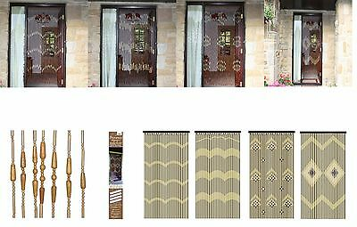 Bamboo Door Screen Curtain Beaded Insect Blind Fly Bug Wooden - Assorted Design