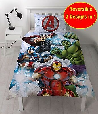 Marvel Avengers Single Duvet Quilt Cover Set Boys Kids, Iron Man, Thor, Hulk Bed