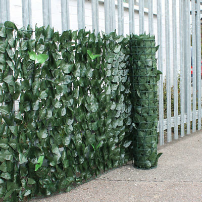 Artificial Ivy 2 Leaf Hedge Privacy Screening Garden Fence Panel Roll - 1m x 3m
