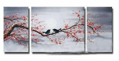 3PC MODERN ABSTRACT WALL ART Prints PAINTING ON CANVAS 2 birds on Flowers