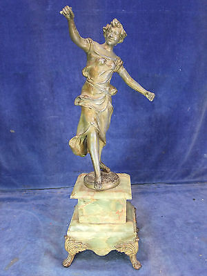 French Spelter Figure On An Onyx Marble Plinth -19th C [3672]