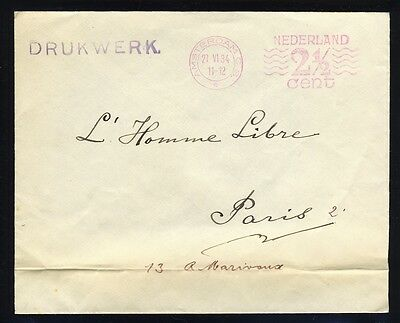 PAYS-BAS / NETHERLANDS 1934 2 1/2c Meter Franking on Pr. Matters Cover to Paris