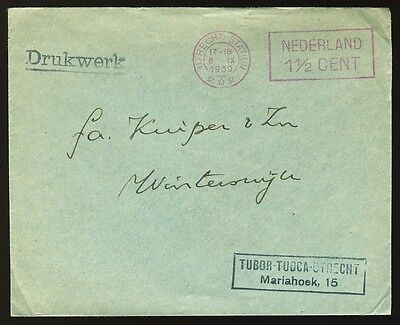PAYS-BAS / NETHERLANDS 1939 1 1/2c Meter Franking on Pr. Matters Cover
