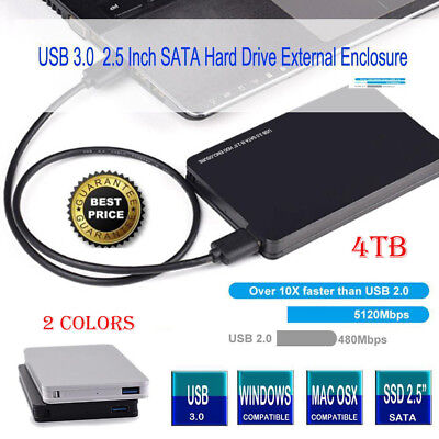 "4TB USB 3.0 SATA External 2.5"" HD HDD SSD Hard Drive Enclosure Disk Shell Box"