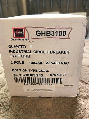 Cutler Hammer Ghb Ghb3100 3 Pole 100 Amp 480 Volt Circuit Breaker New In Box