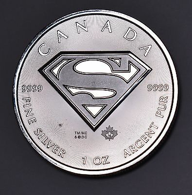 2016 Superman 1 oz Silver Coin from Royal Canadian Mint in Gem Uncirculated