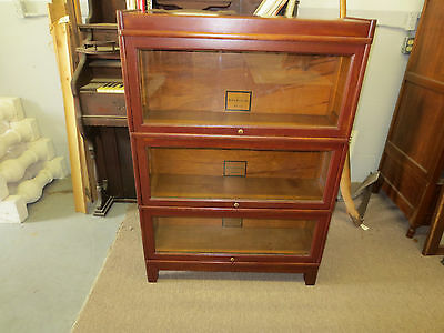 Antique Melton Rhodes oak barrister bookcase