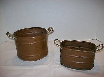 SET OF 2 Vintage Made In Turkey Solid Copper Oval Trough Planters Brass Handles