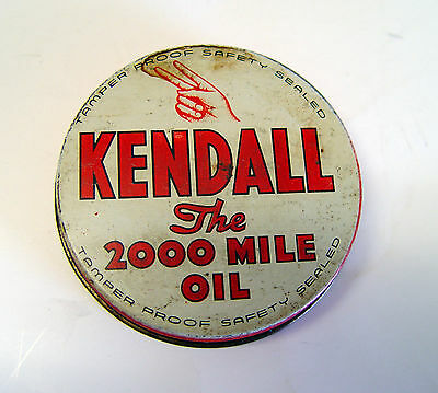 Old Original Kendall Auto Motor Oil Tin Can Container Cap Mini Advertising Sign