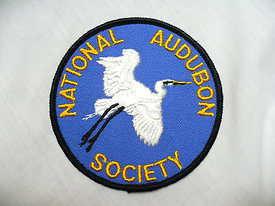 VINTAGE NATIONAL AUDUBON SOCIETY Great Egret SEW ON PATCH Blue 4""