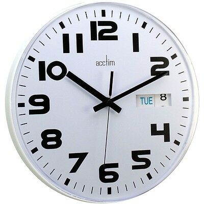 28CM Deluxe Austin White Quartz Wall Clock with Day / Date for Home Office Shop