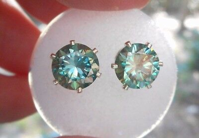 EARRING PAIR SILVER 3.10 TCW 1.55 CT VVS1 7.70mm PEACOCK BLUE  ROUND MOISSANITE