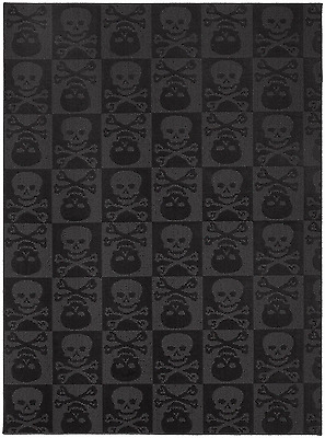NEW 5' X 7' Ft Skulls Style Area Rug Black Pattern Mat Home Bedroom Room Decor