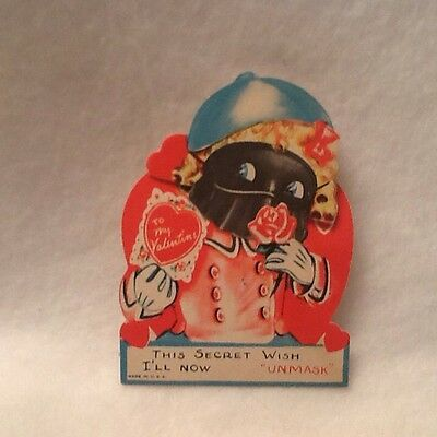 Vintage Valentine Day Card Moving Pop Up USA Unique Masquerade 40s