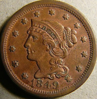 1849 Braided Hair Large Cent XF traces of mint luster