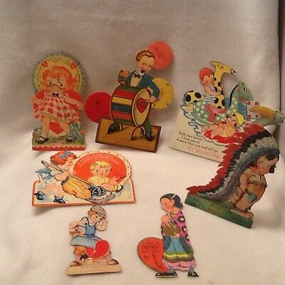 Vintage Valentines Day Cards Lot of 7 30s 40s Era Mechanical Pop Up Stand Up