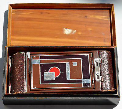 Kodak Vintage Art Deco Gift Folding Camera Model 1A With Wooden Box