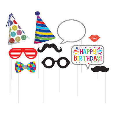 Boy Girl Birthday Photo Booth Props 10 Pack Hats Bowties Glasses Party Supplies