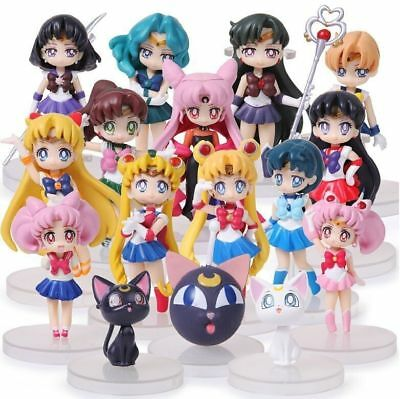 Anime Pretty Guardian Sailor Moon 16pcs Mini Figurine Playset Collection Loose