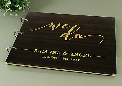 Personalized We Do Guest Book Rustic Wedding Wood Engraved Signature Photo Book