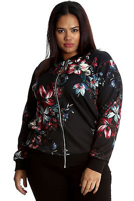 New Ladies Plus Size Bomber Jacket Womens Moroccan Print Ribbed Varsity Nouvelle