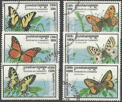 Timbres Papillons Cambodge 1548/53 o lot 20416