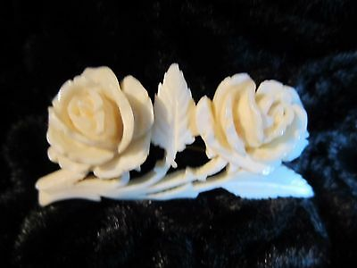 Antique Vintage Bovine Bone Carved Rose Brooch