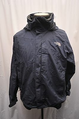 North Face Mens Large Waterproof Hyvent Hiking Jacket Blue Fw61