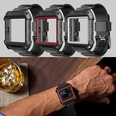 Rugged Protective Case With Silicone Wrist Strap Bands for Fitbit Blaze Watch uk