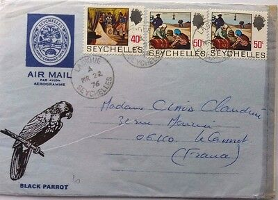 Seychelles 1976 Aerogramme Illustrated With Black Parrot With La Digue Postmark