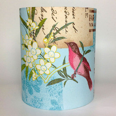 Blue Vintage Floral Birds, Medium Fabric Light Shade
