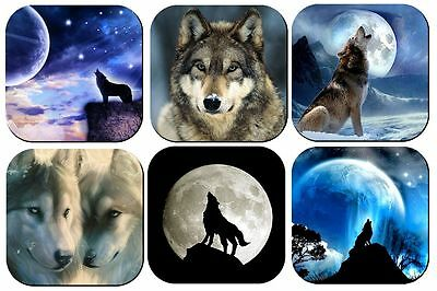 WOLF WOLVES MOON DRINK COASTERS x 6 NON SLIP NON FADE