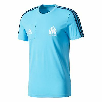 adidas Mens Football Official Olympique de Marseille Training T-Shirt Tee - Blue